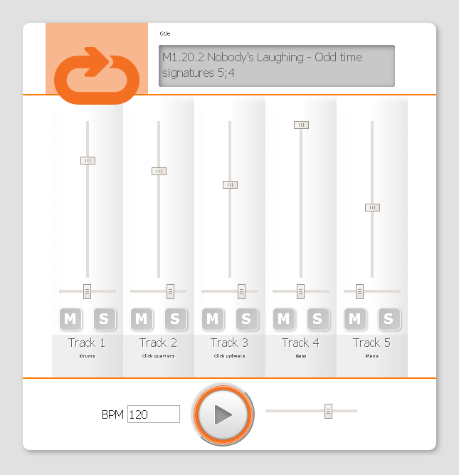 Image of the Skillz Drum Coach web based MIDI player used in conjunction with the drum book/encyclopedia Level 1 - The complete workbook for the Modern Drummer