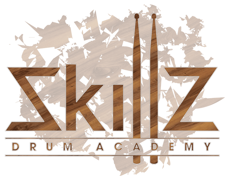 Skillz Drum Academy Logo in Walnut on a transparant background