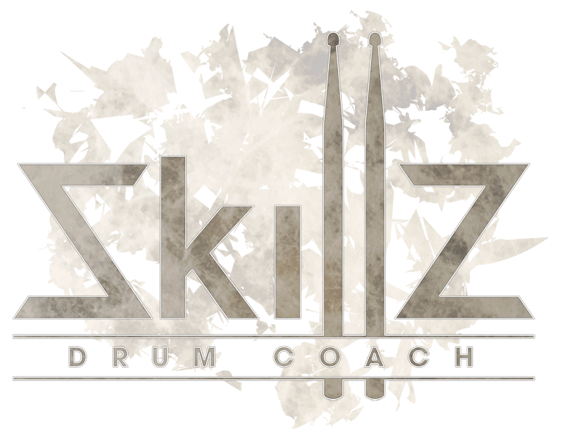 Skillz Drum Coach Logo in Bird's Eye Maple on a transparant background
