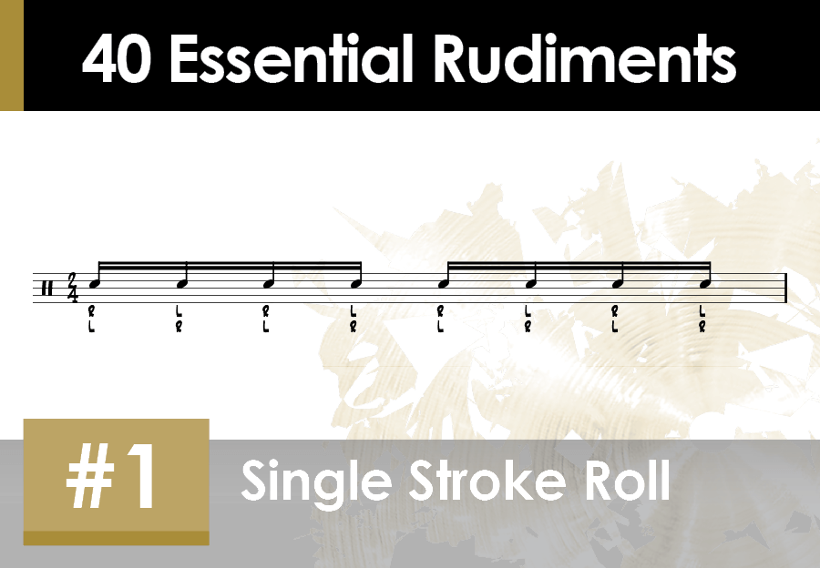Skillz Drum Lessons 40 Essential Rudiments number 1 Single Stroke Roll