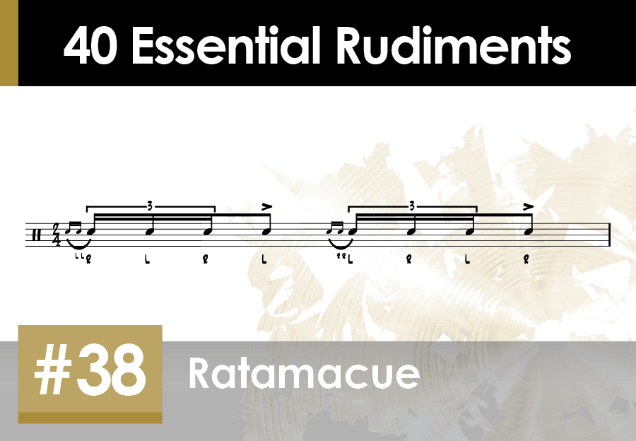 Skillz Drum Lessons 40 Essential Rudiments number 38 Ratamacue