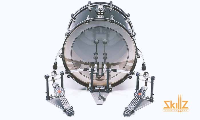 Bass drum with double pedal