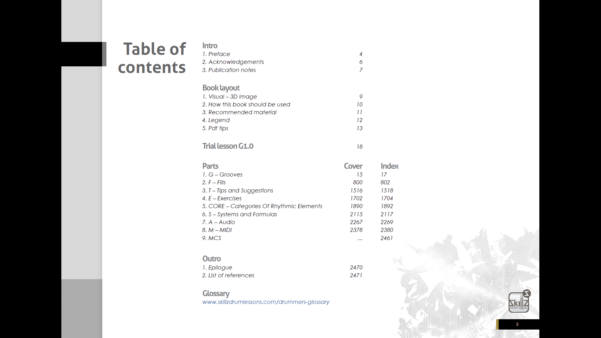 Screenshot Level 1 Table of Contents Skillz Drum Lessons