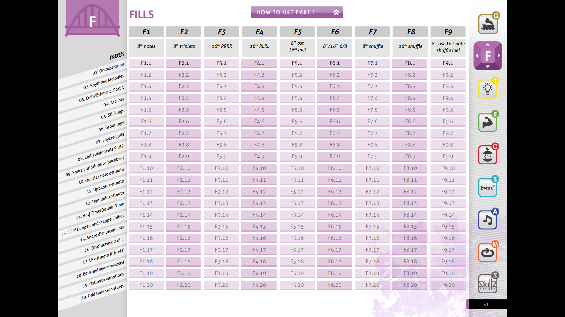 Screenshot index Part F FREE drum book Level 1 Trial Version Skillz Drum Lessons