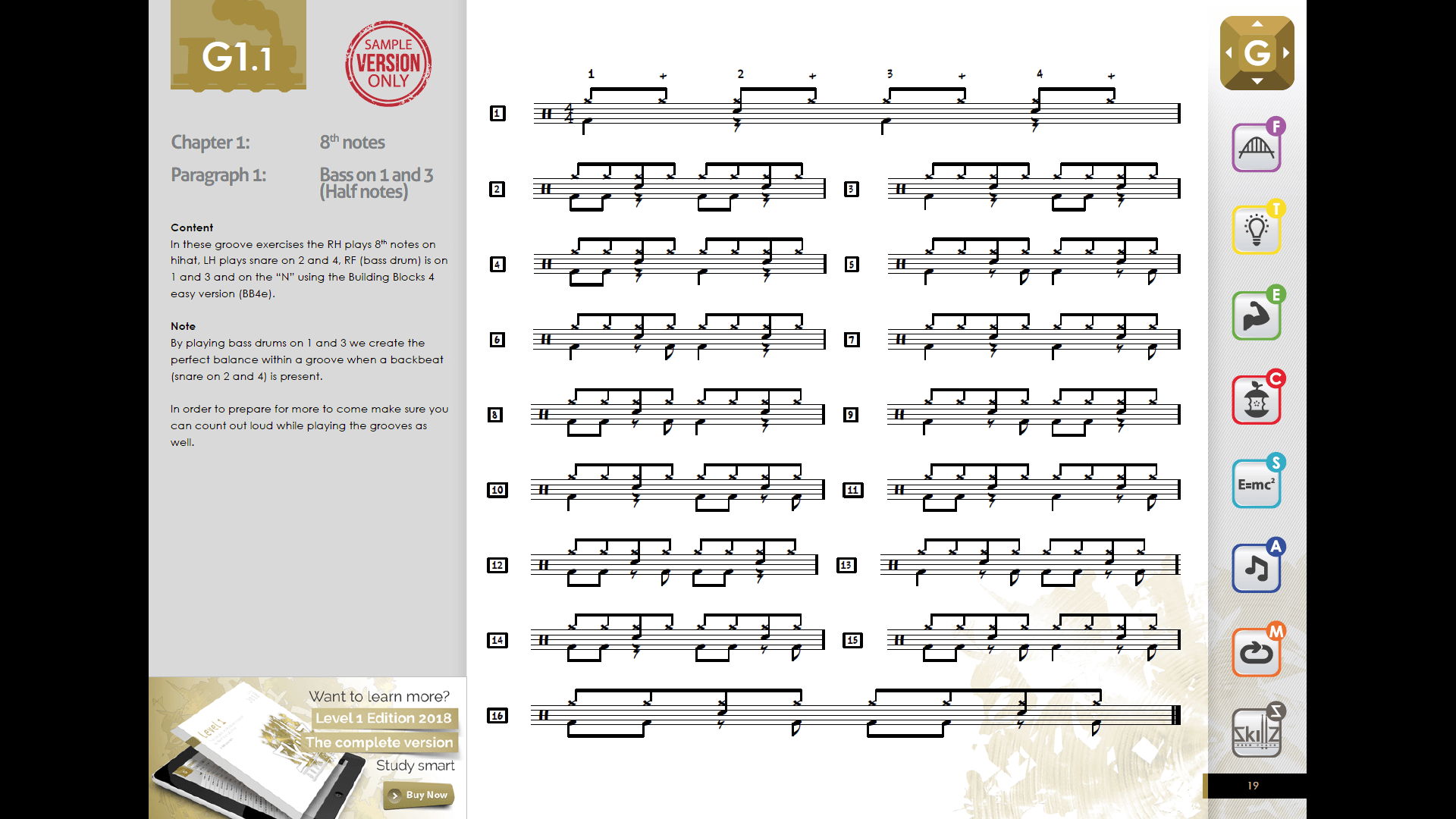 Screenshot page 8th notes Grooves G1.1 FREE beginner drum book Level 1 Trial Version Skillz Drum Lessons