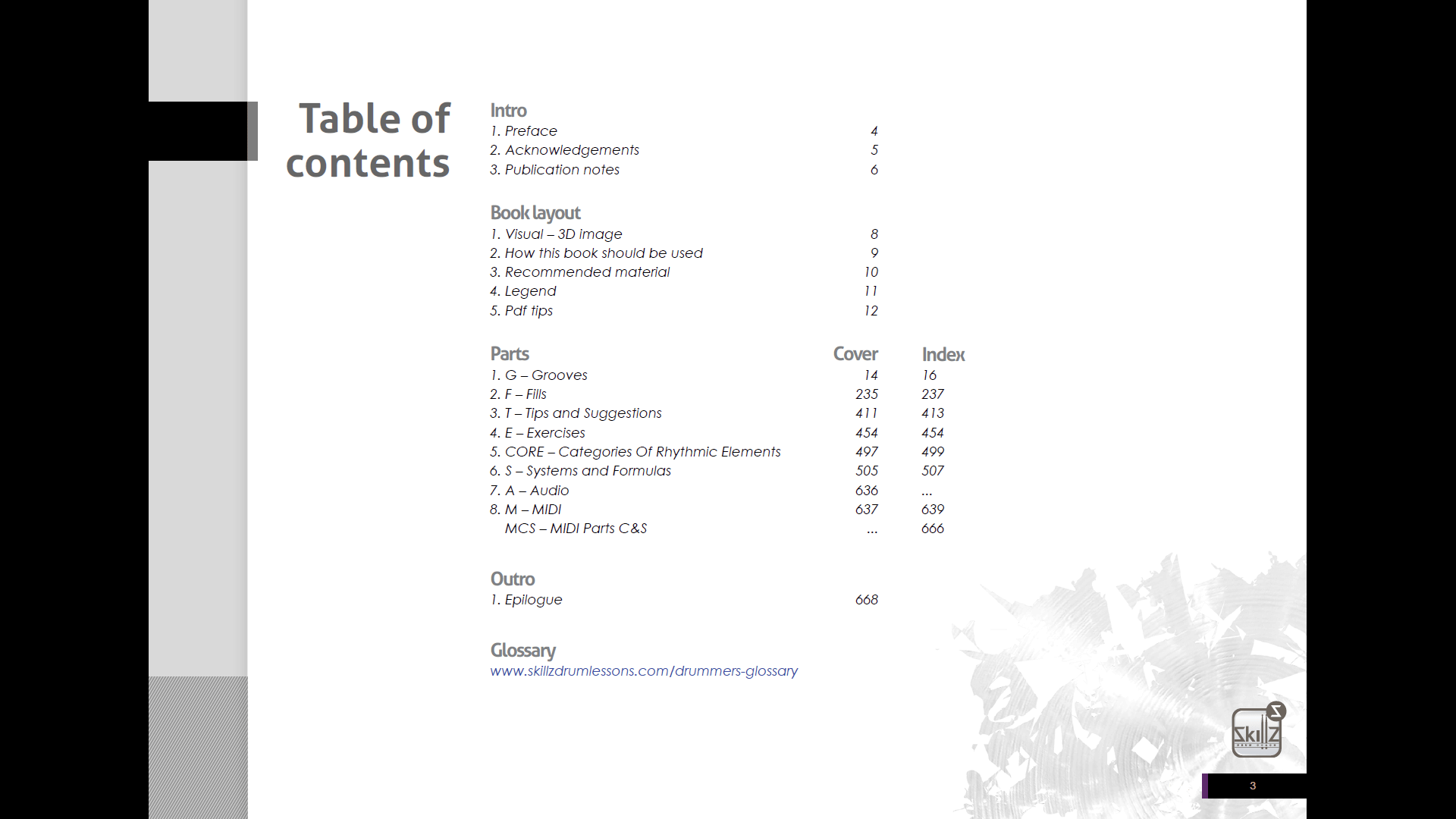 Screenshot Table of Contents drum book about quintuplets Sub 5 Skillz Drum Lessons