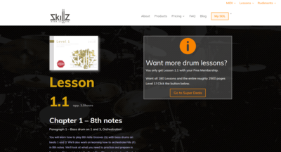 Picture of what a Free Membership Online Drum Lesson at Skillz Drum Lessons will look like
