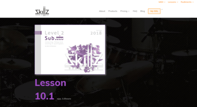 Picture of what a Sub 5 Membership Online Drum Lesson at Skillz Drum Lessons will look like