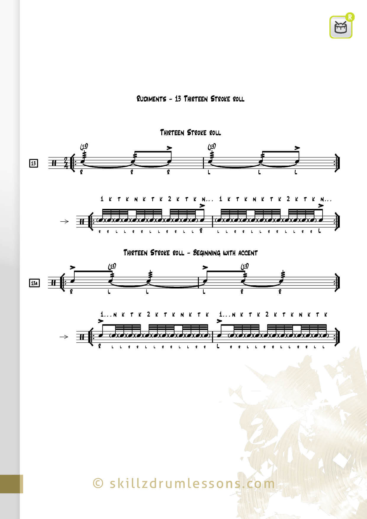 This is an image of the Official 40 Essential P.A.S. Rudiments #13 The Thirteen Stroke Roll by Skillz Drum Lessons