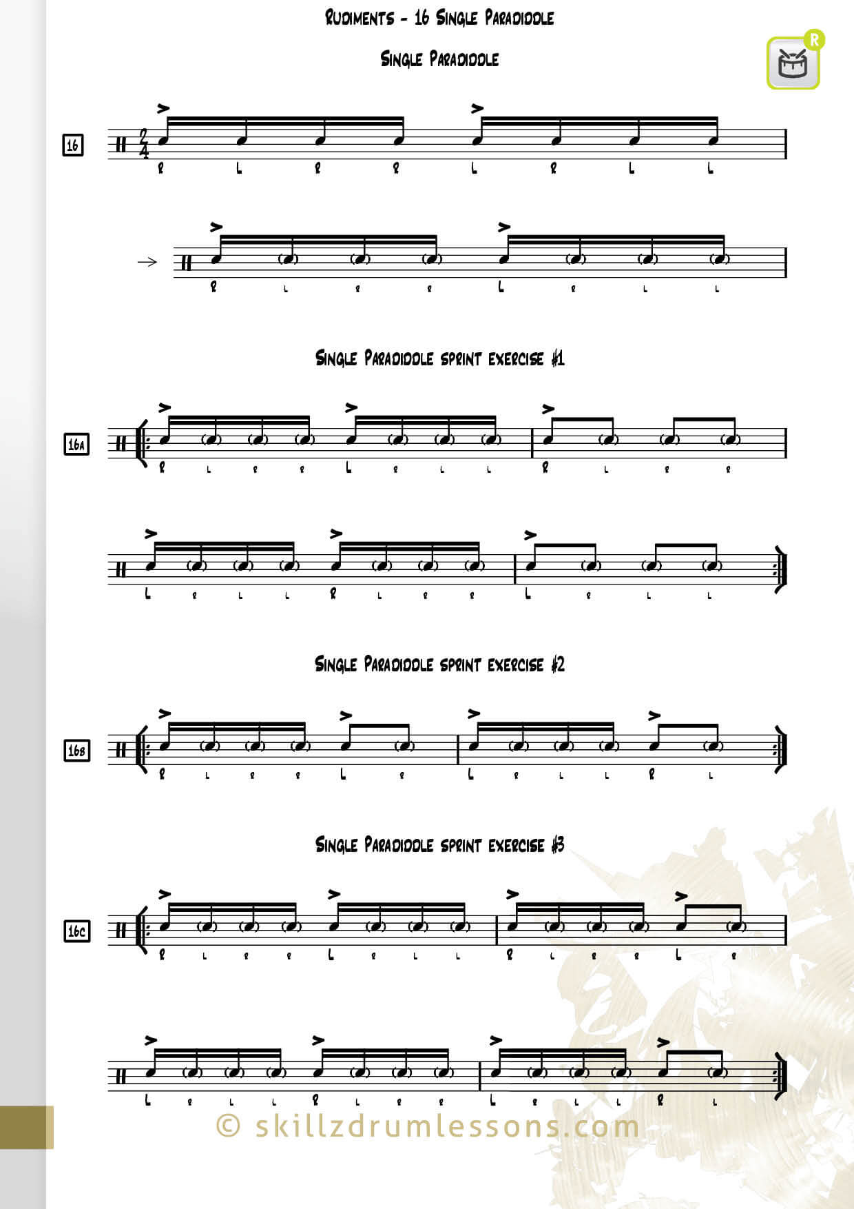This is an image of the Official 40 Essential P.A.S. Rudiments #16 The Single Paradiddle by Skillz Drum Lessons