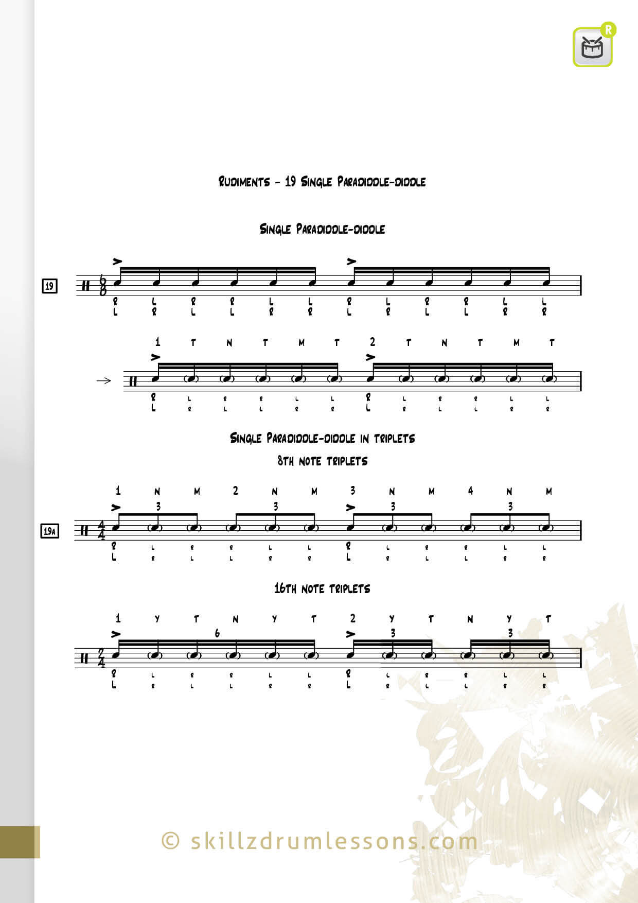 This is an image of the Official 40 Essential P.A.S. Rudiments #19 The Single Paradiddle-diddle by Skillz Drum Lessons