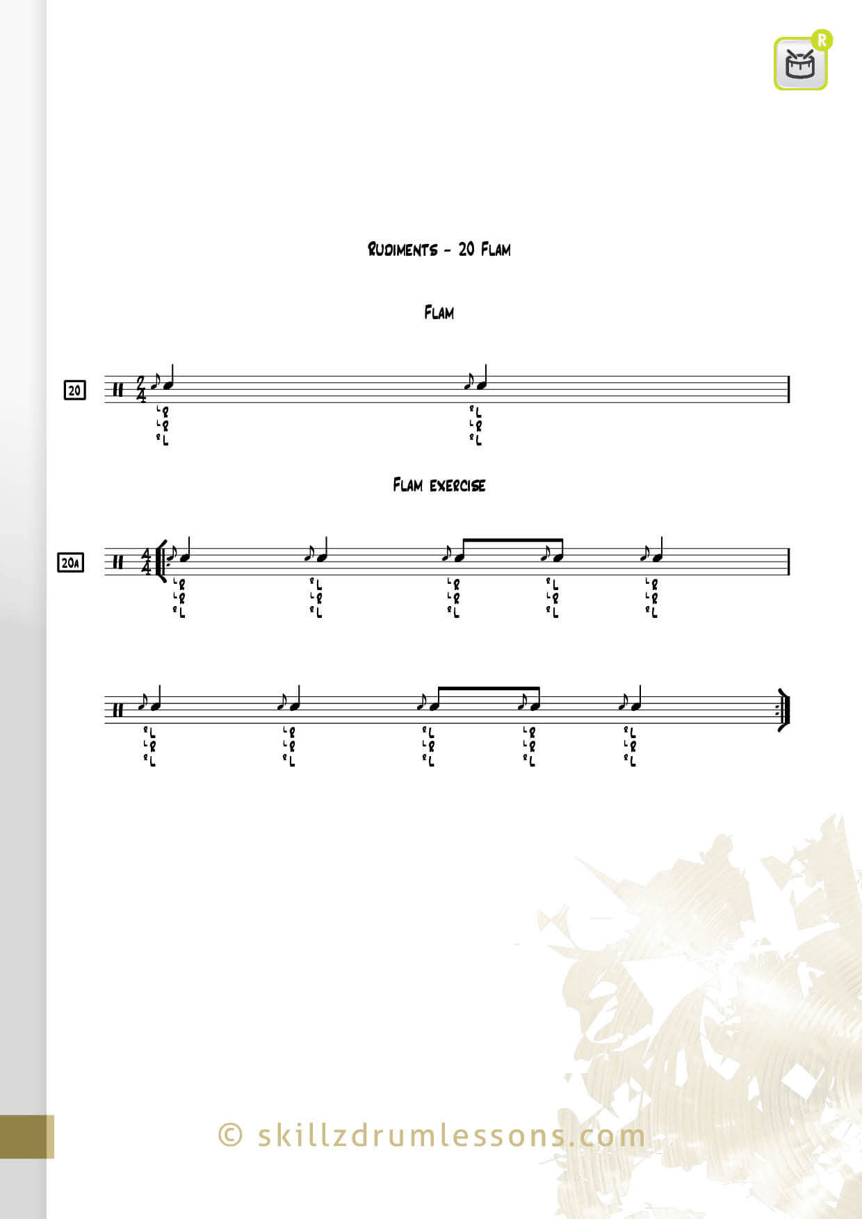 This is an image of the Official 40 Essential P.A.S. Rudiments #20 The Flam by Skillz Drum Lessons