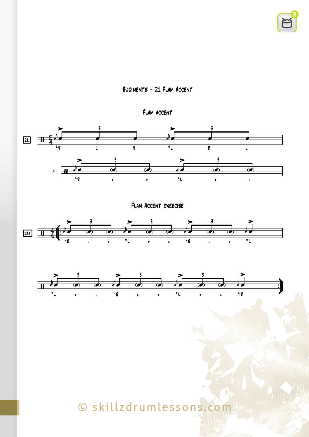 This is an image of the Official 40 Essential P.A.S. Rudiments #21 The Flam Accent by Skillz Drum Lessons