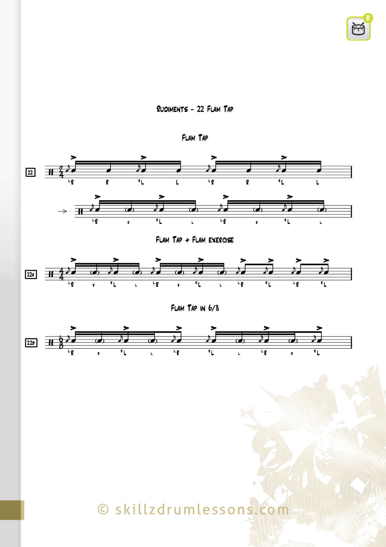 This is an image of the Official 40 Essential P.A.S. Rudiments #22 The Flam Tap by Skillz Drum Lessons