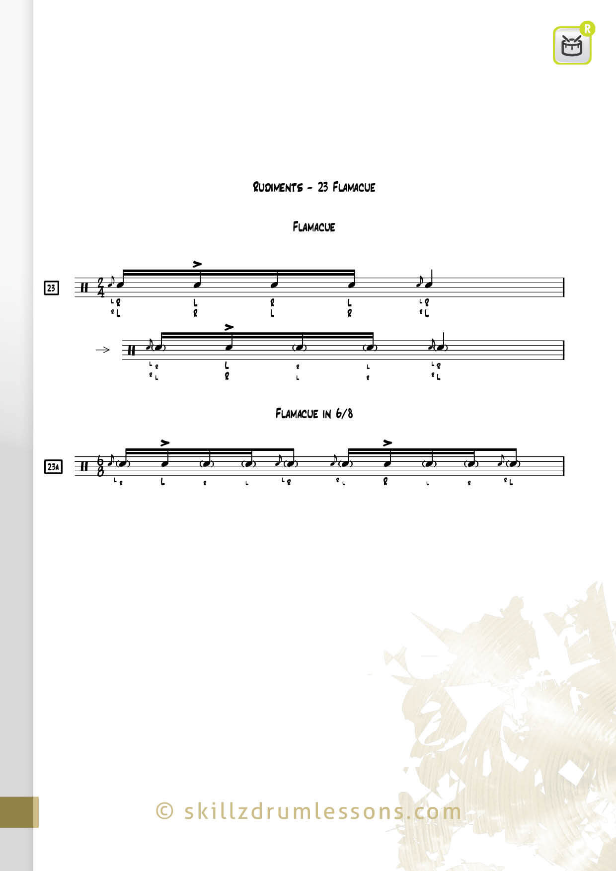 This is an image of the Official 40 Essential P.A.S. Rudiments #23 The Flamacue by Skillz Drum Lessons