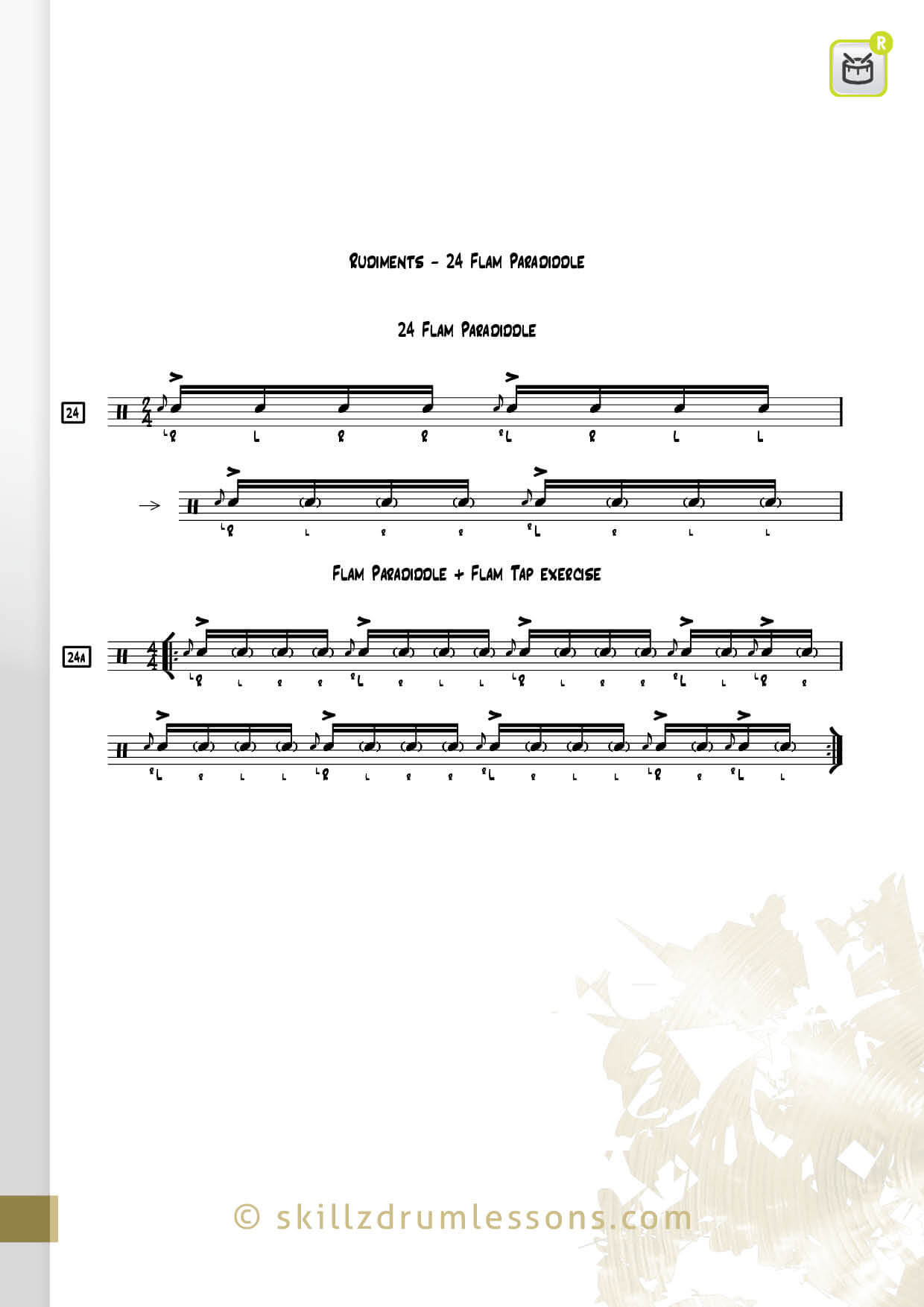 This is an image of the Official 40 Essential P.A.S. Rudiments #24 The Flam Paradiddle of Flamadiddle by Skillz Drum Lessons