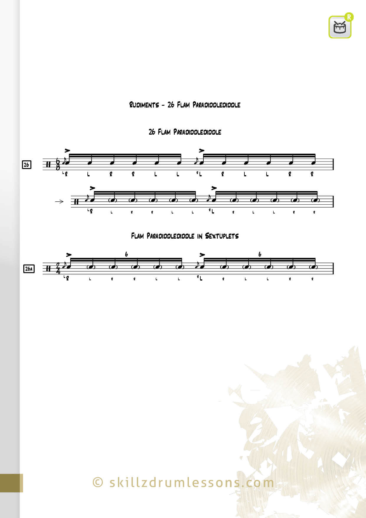 This is an image of the Official 40 Essential P.A.S. Rudiments #26 The Flam Paradiddlediddle by Skillz Drum Lessons