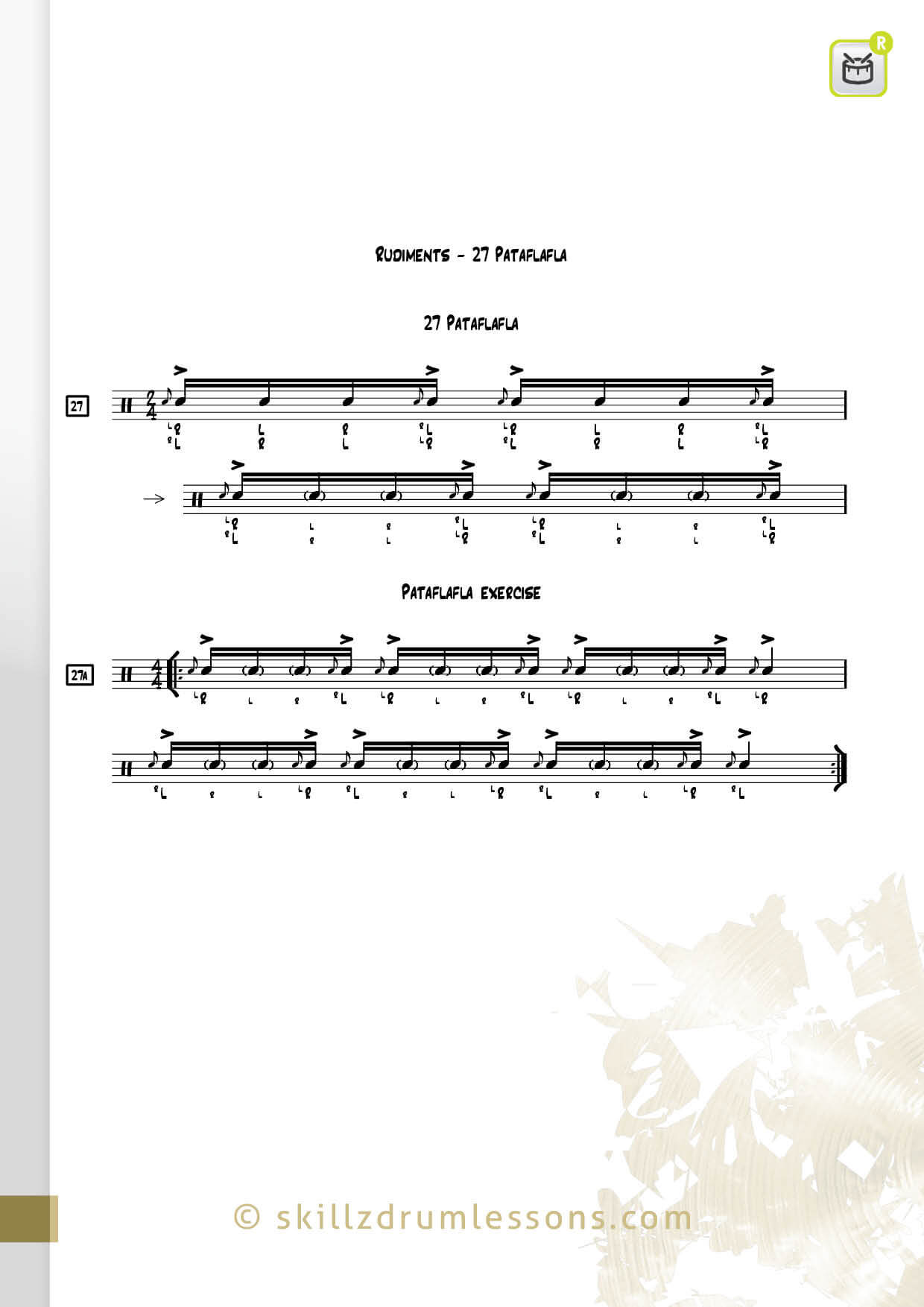 This is an image of the Official 40 Essential P.A.S. Rudiments #27 The Pataflafla by Skillz Drum Lessons