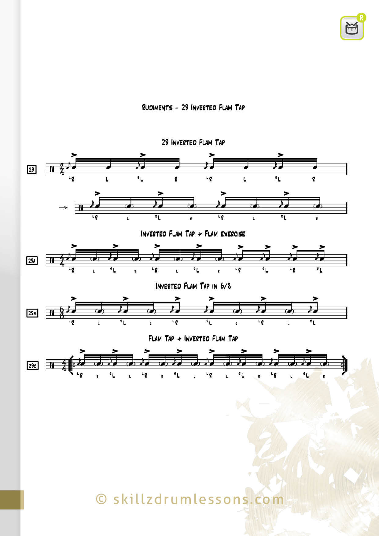 This is an image of the Official 40 Essential P.A.S. Rudiments #29 The Inverted Flam Tap by Skillz Drum Lessons