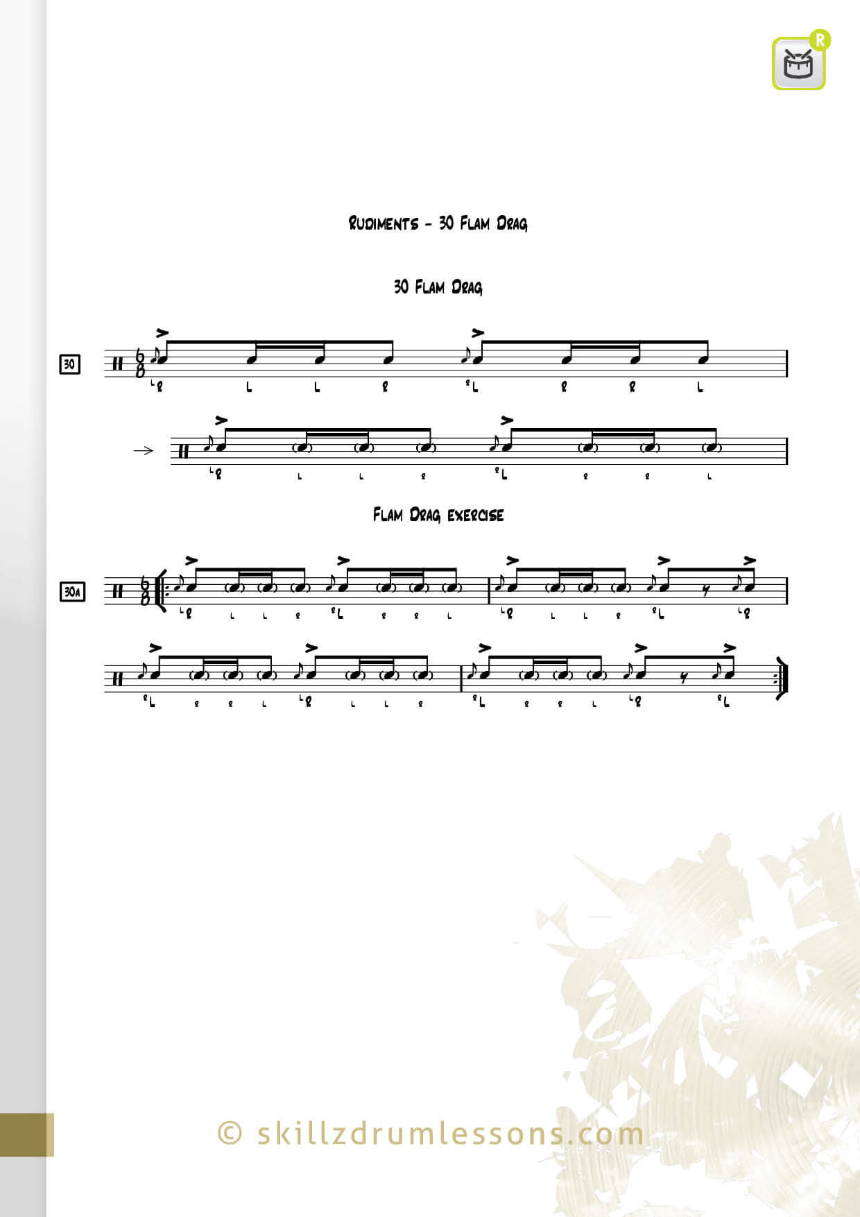 This is an image of the Official 40 Essential P.A.S. Rudiments #30 The Flam Drag by Skillz Drum Lessons