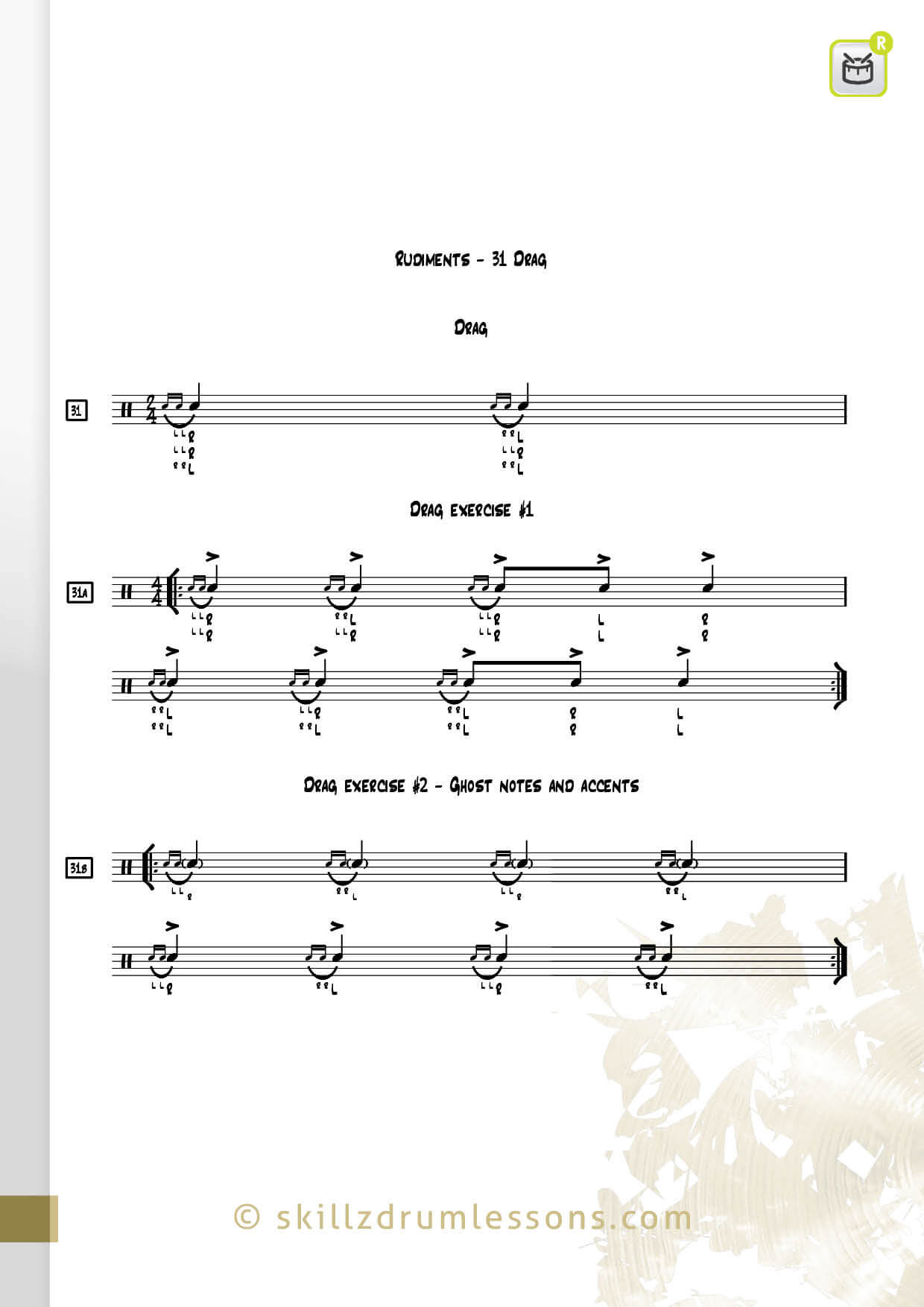 This is an image of the Official 40 Essential P.A.S. Rudiments #31 The Drag by Skillz Drum Lessons