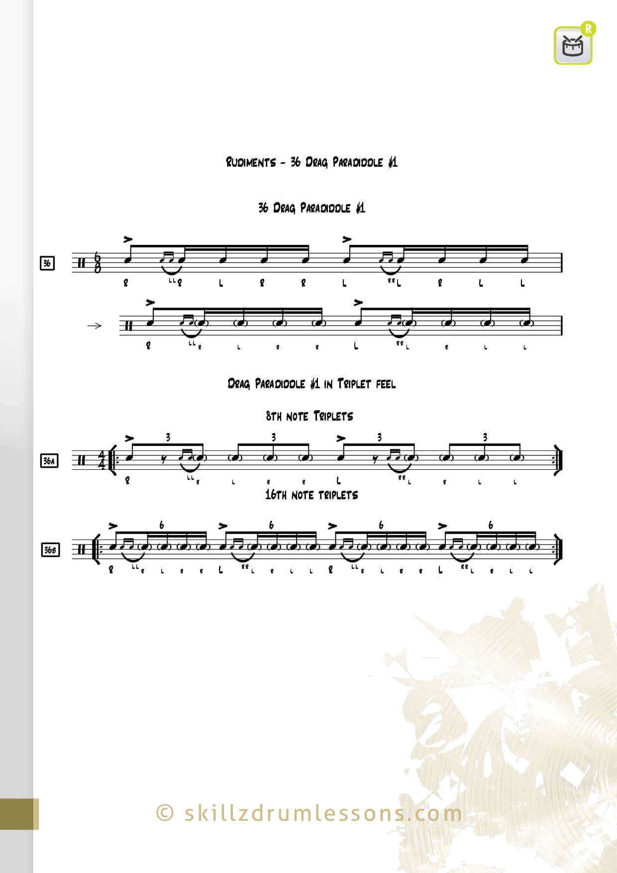 This is an image of the Official 40 Essential P.A.S. Rudiments #36 The Drag Paradiddle #1 by Skillz Drum Lessons
