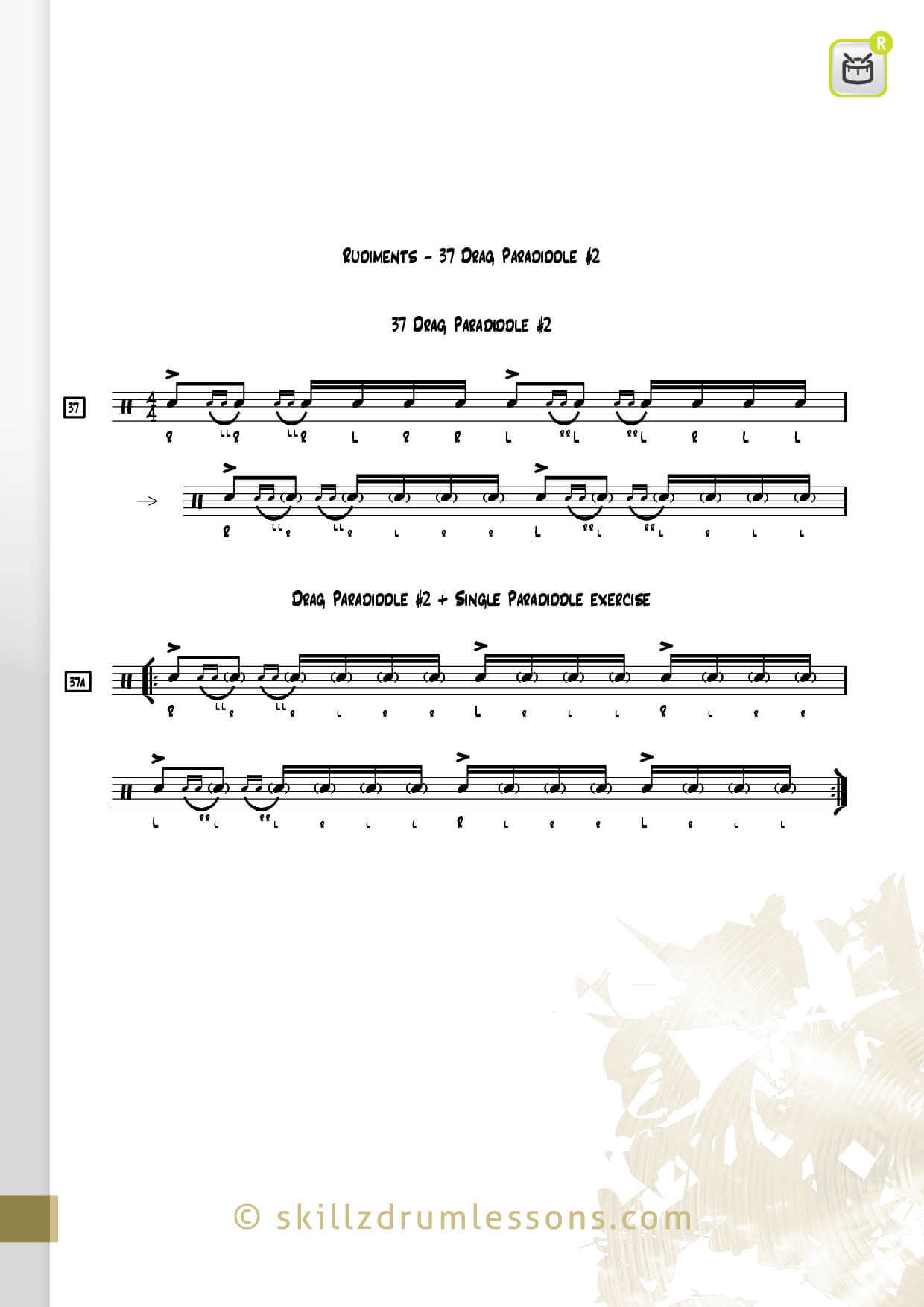This is an image of the Official 40 Essential P.A.S. Rudiments #37 The Drag Paradiddle #2 by Skillz Drum Lessons
