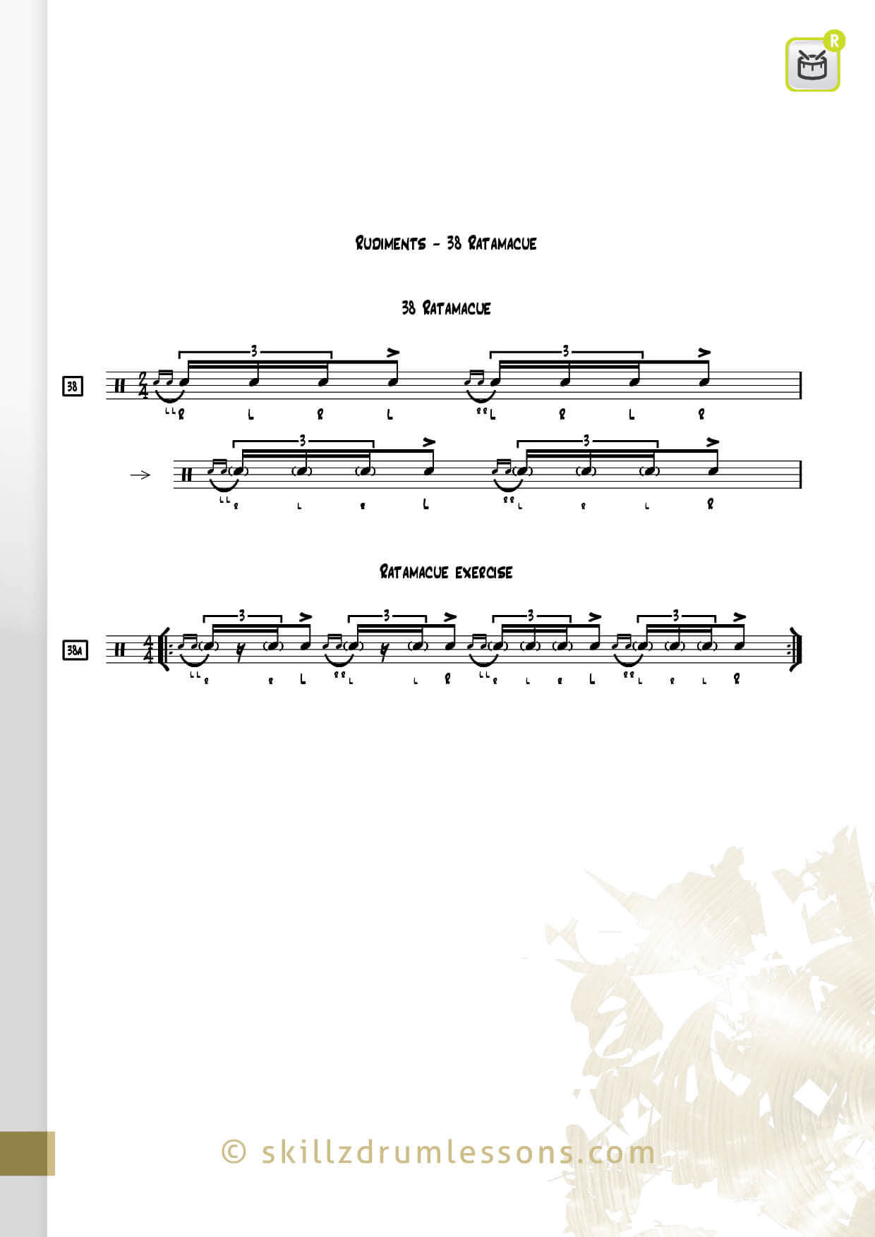 This is an image of the Official 40 Essential P.A.S. Rudiments #38 The Ratamacue by Skillz Drum Lessons
