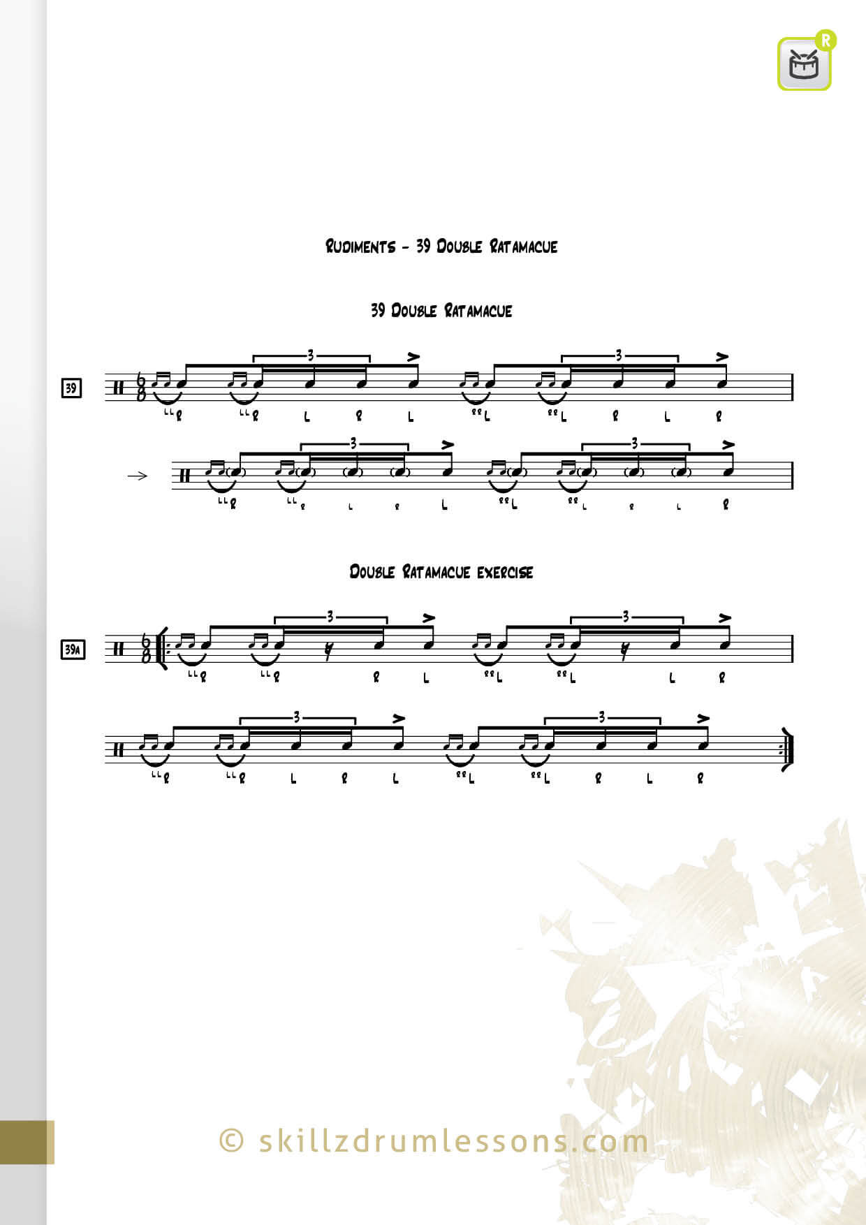 This is an image of the Official 40 Essential P.A.S. Rudiments #39 The Double Ratamacue by Skillz Drum Lessons