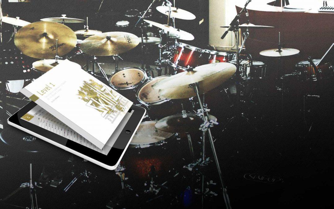 Drum Encyclopedia Level 1 in Drum Studio background Skillz Drum Lessons