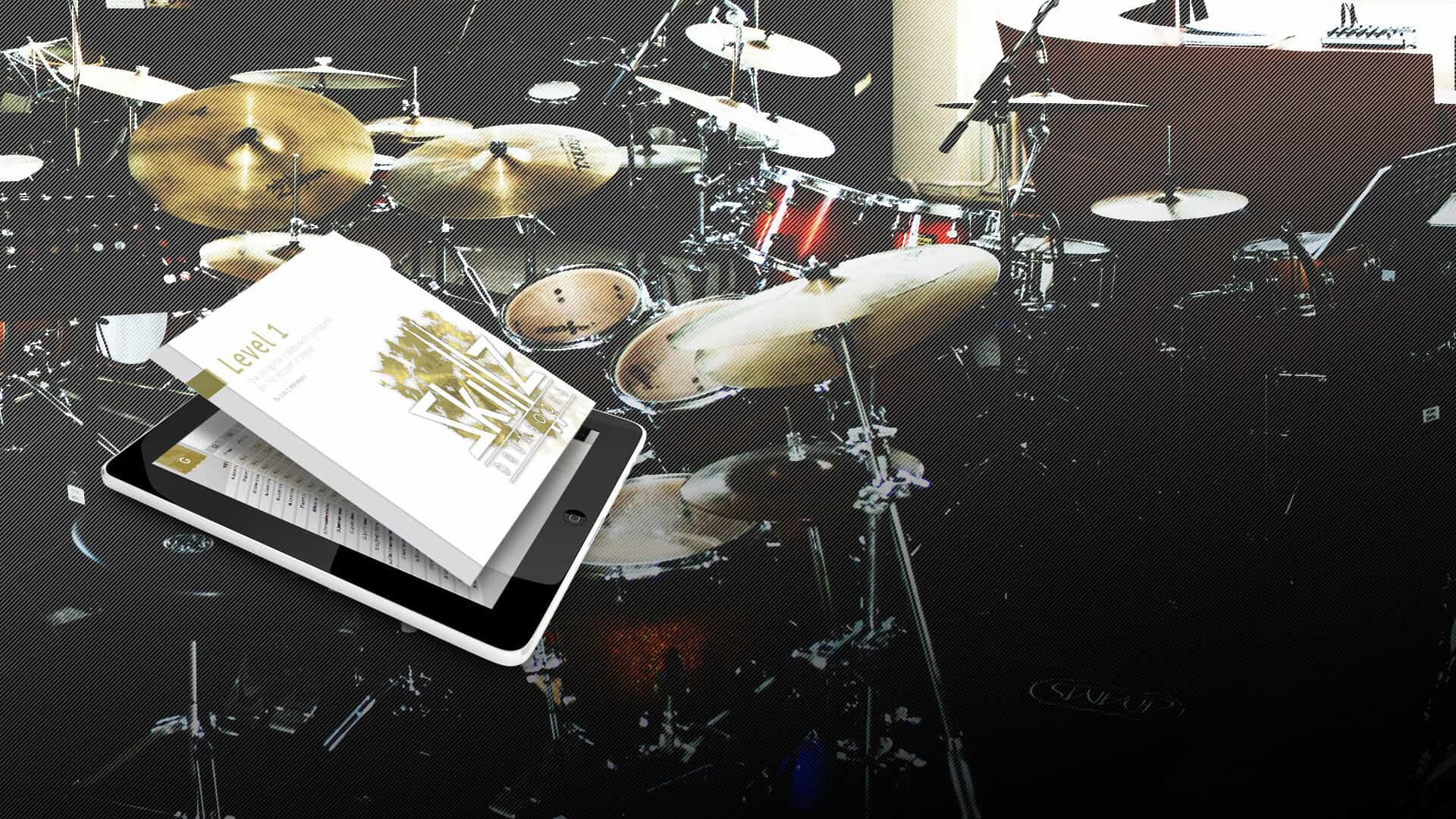 Drum Encyclopedia Level 1 in Drum Studio background Skillz Drum Lessons