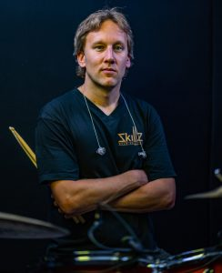 About Skillz Drum Lessons Team Picture of Bob Schillemans behind the drum set used to record pop and rock drum lessons