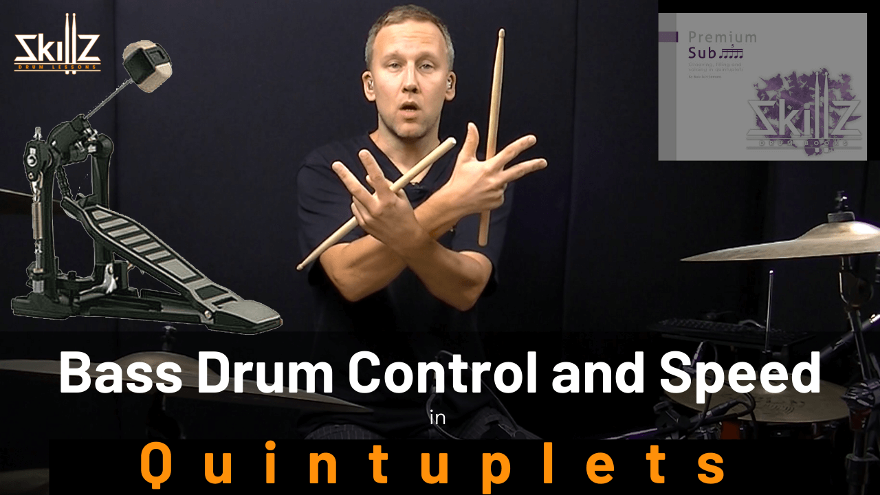 Free drum lesson about bass drum single and double combinations in Quintuplets by Skillz Drum Lessons