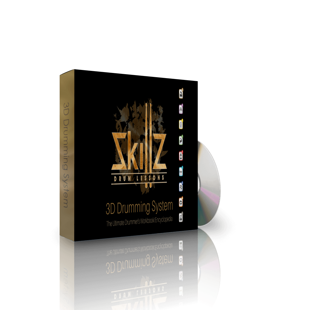 3D Image of the left side of the 3D Drumming System by Skillz Drum Lessons