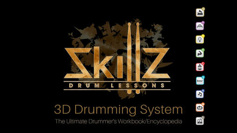 This is the cover of the 3D Drumming System by Skillz Drum Lessons